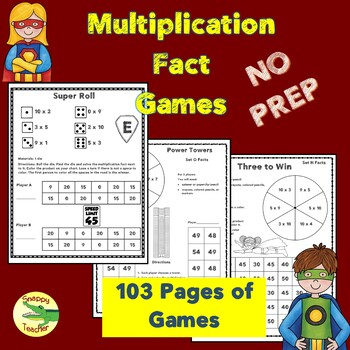 No Prep Superpower Multiplication Fact Games
