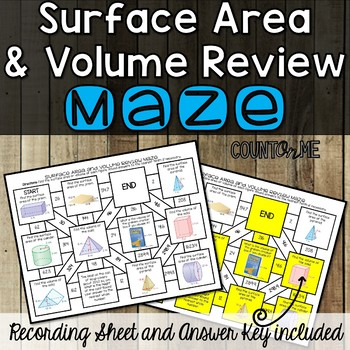 No Prep Surface Area and Volume Review Maze