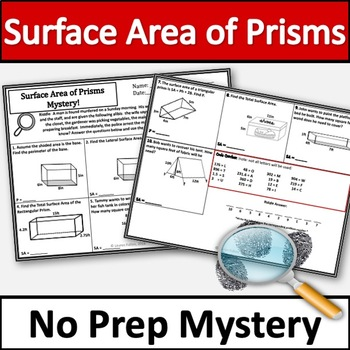 No Prep Surface Area of Prisms Activity! No Prep Mystery!