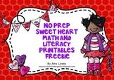 No Prep Sweet Heart Math and Literacy Printables FREEBIE