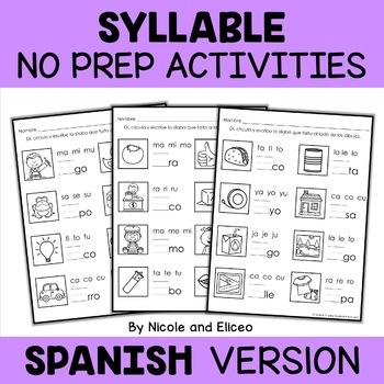 Spanish Syllable Worksheets 3