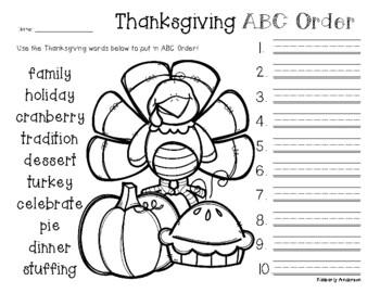 No Prep: Thanksgiving ABC Order
