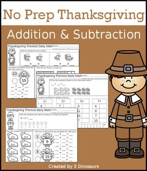 No Prep Thanksgiving Addition & Subtraction