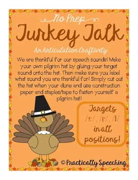 No Prep Thanksgiving Articulation Craftivity for s,r,l in all positions