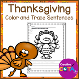 No Prep Thanksgiving Color, Trace and Write Sentences