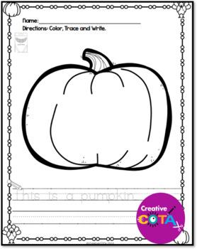 No Prep Thanksgiving Color, Trace and Write Sentences