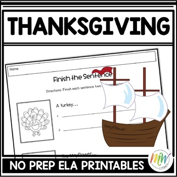 No Prep Thanksgiving Literacy Activity Packet