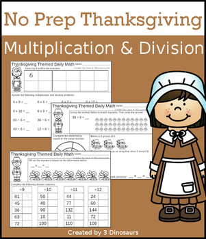 No Prep Thanksgiving Multiplication & Division
