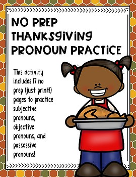 No Prep Thanksgiving Pronoun Practice
