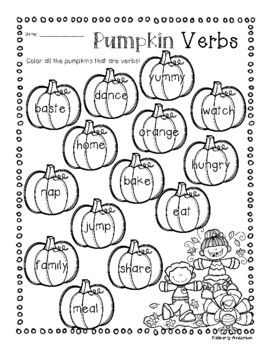 No-Prep Thanksgiving Verb Practice