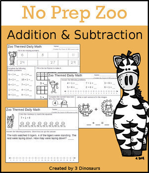 No-Prep Themed Addition & Subtraction Endless Bundle