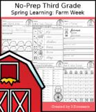 No-Prep Third Grade Spring Learning: Farm Week - Distance