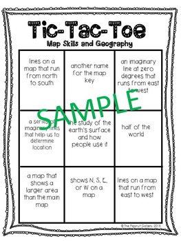 No Prep Tic Tac Toe Games: Map Skills & Geography