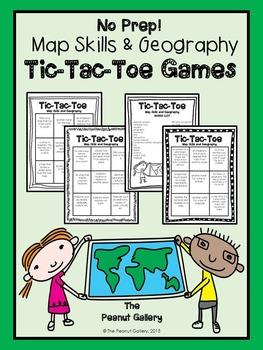 No Prep Tic Tac Toe Games: Map Skills & Geography