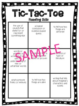 No Prep Tic Tac Toe Games: Reading Skills (with Genres)