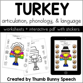 No Prep Turkey Articulation, Phonology, & Language Worksheets