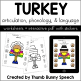 Turkey Articulation, Phonology, Language Worksheets + PDF