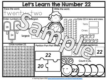 Interactive Two Digit Numbers 21 to 30 Worksheets -Place value, Partition, Add