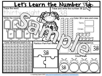 Interactive Two Digit Numbers 31 to 40 Worksheets - Place Value, Partition, Add