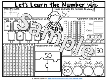 No Prep Two Digit Numbers 41 to 50 Worksheets - Interactive Answers