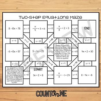 No Prep Two Step Equations Maze