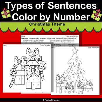 No Prep Types of Sentences Color by Number with a Christmas Theme