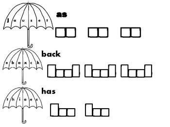 No Prep Umbrella First Grade Sight Words