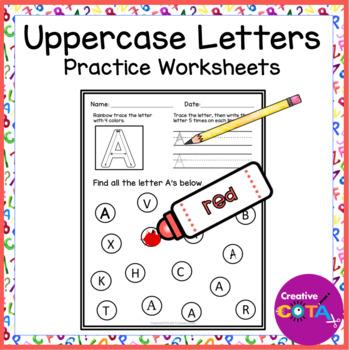 No Prep Upper Case Letter Worksheets