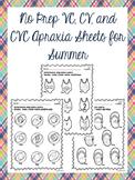No Prep VC, CV, and CVC Apraxia Sheets for Summer