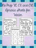 No Prep VC, CV, and CVC Apraxia Sheets for Winter