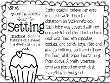 No Prep Valentine Activities- Comprehension and Phonics