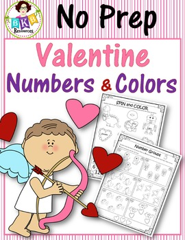 No Prep Valentine Numbers and Colors