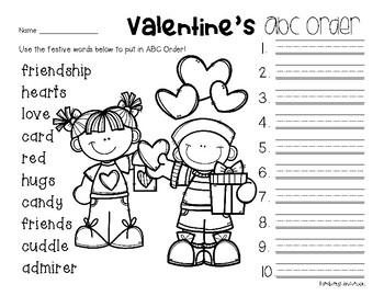 No Prep: Valentine's Day ABC Order