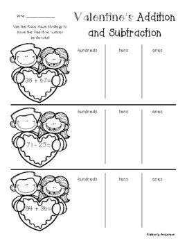 No Prep: Valentine's Day Addition / Subtraction (2 / 3 Digit Differentiated)