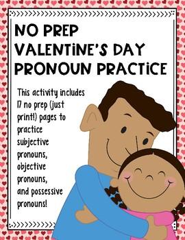 No Prep Valentine's Day Pronoun Practice