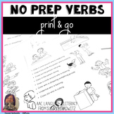No Prep Verb Practice Printables for Receptive and Express