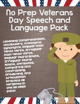 No Prep Veterans Day Speech and Language Pack