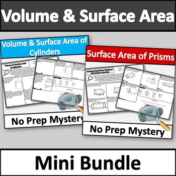Volume & Surface Area Murder Mystery Activity Bundle (Cylinders & Prisms)