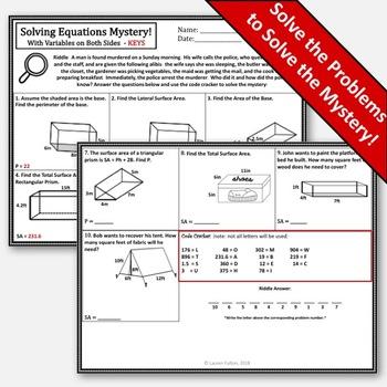 Volume & Surface Area Activity Bundle! No Prep Mysteries (Prisms & Cylinders)