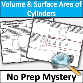 No Prep Volume and Surface Area of Cylinders Activity