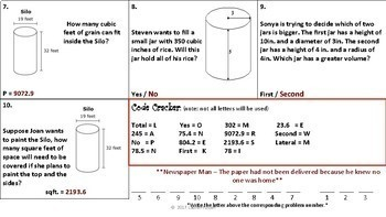 No Prep Volume and Surface Area of Cylinders Murder Mystery Activity