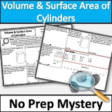 Volume and Surface Area of Cylinders Activity! No Prep Mystery!