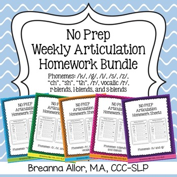 No Prep Weekly Articulation Homework Bundle
