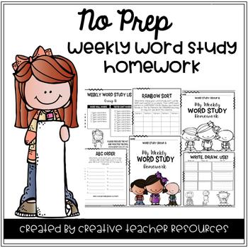 No Prep Weekly Word Study Homework {Editable}