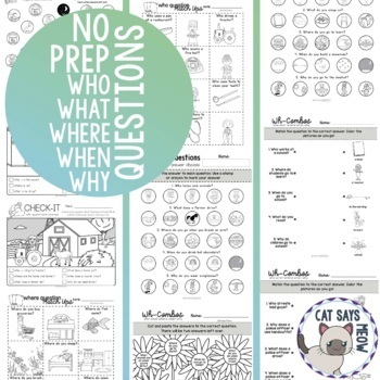 No Prep Wh-Question Combos 2: Who, What, Where, When, Why (Homework, Worksheets)