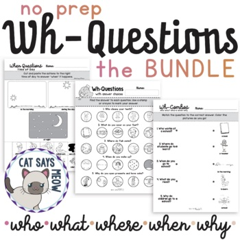 No Prep Wh- Questions BUNDLE! Who, What, Where, When, Why Worksheets