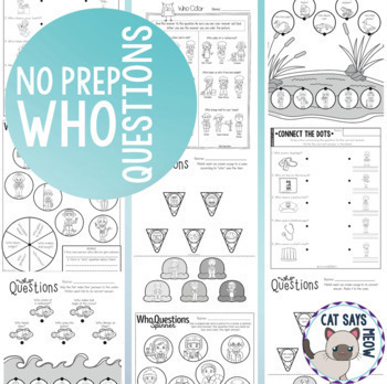 No Prep Wh- Questions: Who (Print and Go Homework Worksheets) Speech Therapy