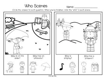 No Prep Wh- Questions: Who (Print and Go Homework Worksheets) Freebie