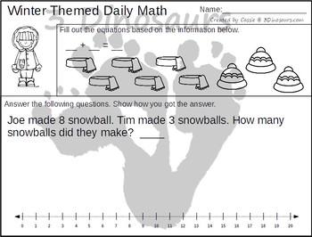 No Prep Winter Addition & Subtraction