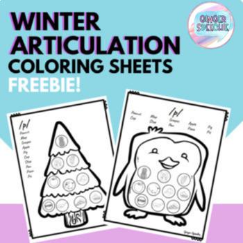 No Prep Winter Articulation Coloring Sheets: FREEBIE